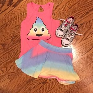 The Children's Place Rainbow Poop Tank skort set M